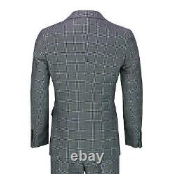 Mens Classic Prince of Wales Checks 3 Piece Double Breasted Suit Tailored Fit