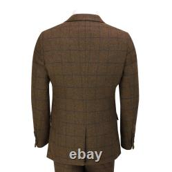 Mens Classic Tweed 3 Piece Suit Tan Brown Herringbone Check Retro Peaky Blinders
