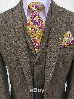 Mens Designer Brown Herringbone Slim Fit 3 Piece Tweed Suit Wedding Perfect