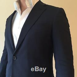 Mens Fully Lined Slim Fit Bespoke Suit Jacket & Trousers Navy Blue 38R 32W £900
