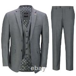 Mens Grey 3 Piece Business Suit Smart Casual Classic Tailored Fit Office