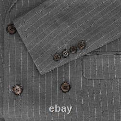 Mens Grey 3 Piece Double Breasted Pinstripe Suit Retro Blazer Waistcoat Trousers