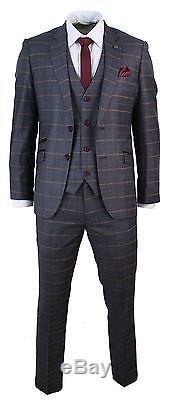 Mens Grey Burgundy Check Retro Vintage 3 Piece Slim Fit Designer Suit