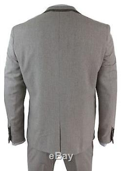 Mens Herringbone Tweed 3 Piece Suit Velvet Trim Classic Vintage Slim Fit Beige