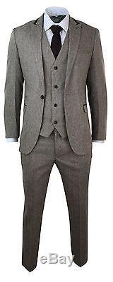 Mens Herringbone Tweed 3 Piece Suit Velvet Trim Classic Vintage Slim Fit Brown