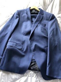 Mens Hugo Boss Huge5/Genius3 Slim Fit Blue Suit 42RX W36 MSRP $795