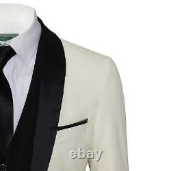 Mens Ivory Black 3 Piece Tuxedo Suit Wedding Prom Grooms wear Retro Tailored Fit