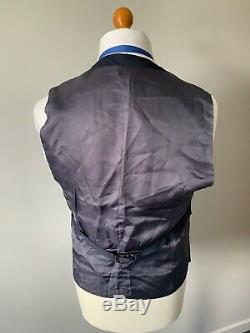 Mens LUXURY REISS HORATIOUS SLIM FIT 3 PIECE SUIT In NAVY CHECK 42R EX-CON