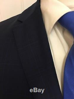 Mens LUXURY REISS MARSHALL SLIM FIT 3 PIECE SUIT In NAVY CHECK 38R EX-CON
