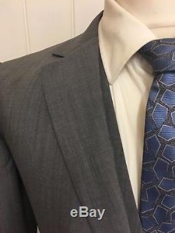 Mens LUXURY REISS SCOTCH' 3 PIECE SLIM FIT WOOL SUIT In GREY 38R EX-CON