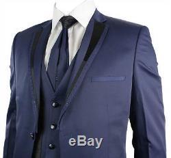 Mens Navy Blue Wedding Party Prom Suit Slim Fit Black Trim Satin Diamantes