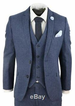 Mens Navy Wool Tweed 3 Piece Suit Slim Fit Classic Vintage Retro Peaky Blinders