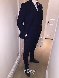 Mens Reiss London Navy Blue Slim Fit 3 Piece + Tie Suit 38r W32 X L32