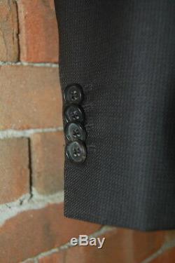 Mens Size 44 R HUGO BOSS Black Micro Print Wool Slim Fit Suit Flat 39 x 30