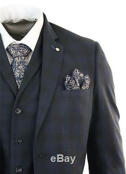 Mens Slim Fit 3 Piece Blue Check Suit Vintage Retro Smart Formal Wedding Party