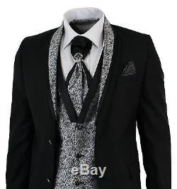 Mens Slim Fit Black Shawl Collar Wedding Party 4 Piece Suit Grey Silver Paisley