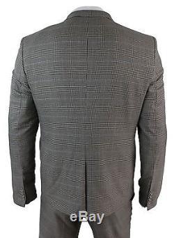 Mens Slim Fit Brown Herringbone Tweed 3 Piece Suit Vintage Retro Black Check