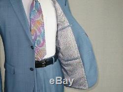 Mens Suit Renoir English Plaid Window Pane Two Button 292-9 Ocean Blue Slim Fit