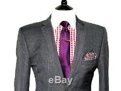 Mens Ted Baker Endurance Textured Grey Slim Fit Suit 40r W34 X L31