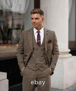 Mens Tweed Brown Herringbone Check Peaky Blinders Wedding Slim Fit 3 Piece Suit