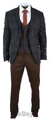 Mens Tweed Brown Tan 3 Piece Check Herringbone Tweed Suit Slim Fit Vintage Retro