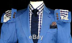 Mens Vivienne Westwood London Petrol Royal Blue Slim Fit Suit 38r W32 X L32