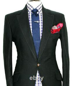 Mens Vivienne Westwood Plain Charcoal Black Super Slim Fit Suit 40r W34 X L32