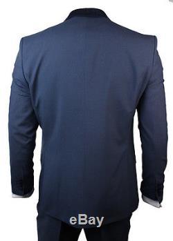 Mens Wedding Party Suit Tuxedo 5 Piece Blue Round Shawl Lapel Slim Fit