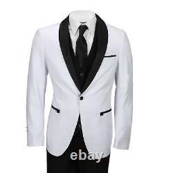 Mens White Black 3 Piece Tuxedo Suit Wedding Prom Grooms wear Retro Tailored Fit