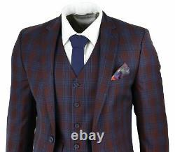 Mens Wine Blue Check 3 Piece Slim Fit Suit Wedding Prom Party Vintage Retro