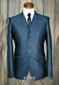 Mod suit, skinhead suit teal tonic suit 3 button suit slim fit mod suit