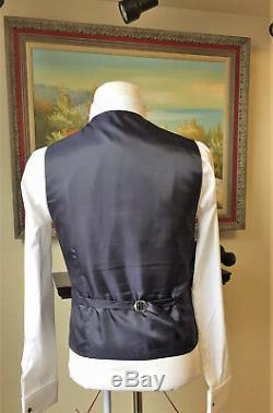 Modern 3 Piece Men's British Cut Slim Fit Plaid Suit Navy