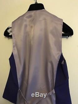 Moss London Mens Suit Slim Fit Violet Purple 3 Piece Single Breasted Formal 36S