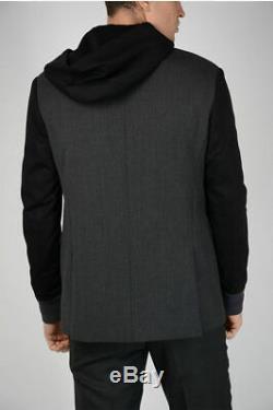 NEIL BARRETT men Suit Jackets Gray Black Hooded Blazer Slim Fit Size 48 IT Gr