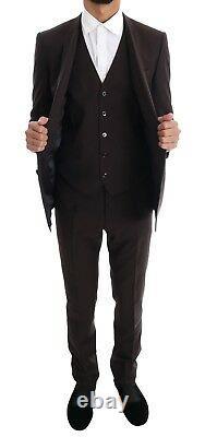 NEW $2400 DOLCE & GABBANA Suit Brown Striped GOLD Slim Fit 3 Piece EU46 / US36/S