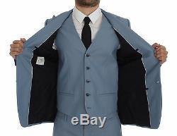 NEW $2600 DOLCE & GABBANA Blue Wool Silk Slim Fit 3 Piece Suit EU44 / US34 / XS