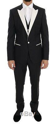 NEW $2800 DOLCE & GABBANA Suit Black Wool Silk 3 Piece Slim Fit EU48 /US38 / M