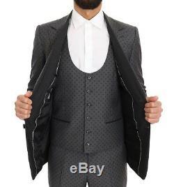 NEW $2900 DOLCE & GABBANA Suit Gray Polka Dotted Slim Fit 3 Piece EU52 / US42/XL