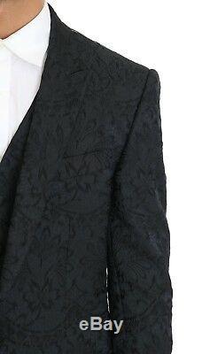 NEW $3000 DOLCE & GABBANA Suit Black Floral Brocade Slim Fit 3 Piece EU50/US40/L