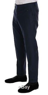 NEW $3200 DOLCE & GABBANA Suit Slim fit Blue Wool Silk Crown MARTINI EU48 / US38