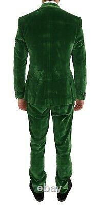 NEW $3400 DOLCE & GABBANA Suit Green Velvet Slim Fit Double Breasted EU48 / US38