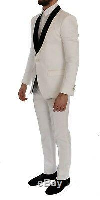 NEW $3400 DOLCE & GABBANA Suit Slim Fit White Brocade Smoking Tuxedo EU54 / US44