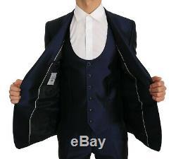 NEW $3800 DOLCE & GABBANA Suit Blue Silk 3 Piece MARTINI Slim Fit s. IT44 / US34