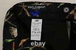 NEW $4400 DOLCE & GABBANA Suit Black Bird Silk SICILIA Slim Fit Blazer IT46/US36