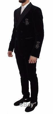 NEW $4400 DOLCE & GABBANA Suit Vest Blue Velvet 3 Piece Slim Fit EU48 / US38 / M