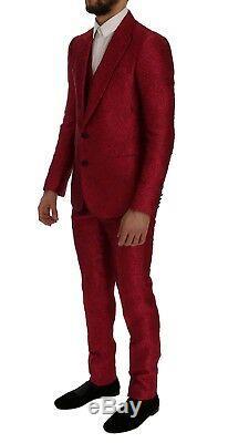 NEW $4800 DOLCE & GABBANA Suit 3 Piece Slim fit Pink Jacquard s. EU50 /US40 / L