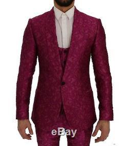 NEW $4800 DOLCE & GABBANA Suit 3 Piece Slim fit Pink Jacquard s. EU50 / US40 / L