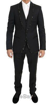 NEW $5800 DOLCE & GABBANA Suit Black Wool Crystal Slim Fit 3 Piece EU54/ US44/XL