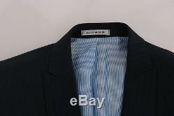 NEW $700 DANIELE ALESSANDRINI Suit Blue Striped Two Button Slim Fit IT48 / US38