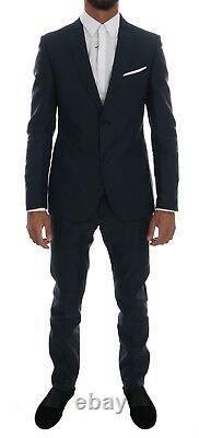 NEW $700 DANIELE ALESSANDRINI Suit Blue Striped Two Button Slim Fit IT54 / US44